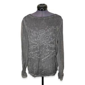 UO Kimchi Blue Embroidered Grey Sheer Blouse Top